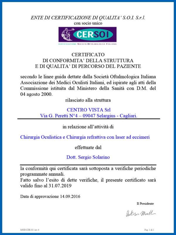 Сертификация Cersoi Centro Vista 2019