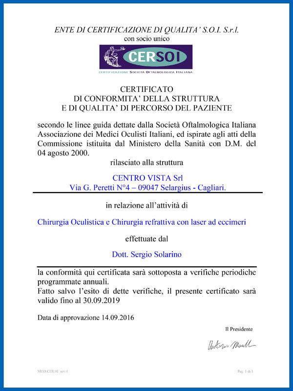 Certifications CERSOI Centro Vista
